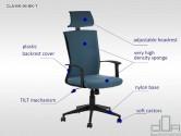Scaun de birou rotativ, ergonomic, pivotant CLAYTON